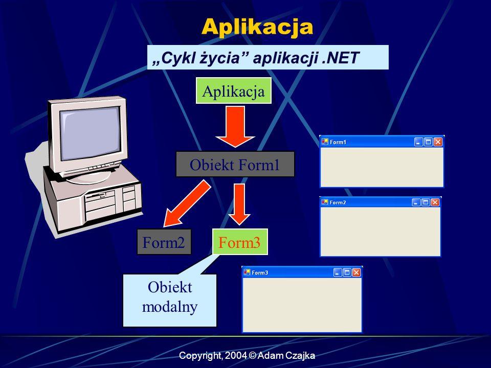 Copyright, 2004 © Adam Czajka WinForm Wstawianie komponentów Po naciśnięciu przycisku, pojawia się modalne okno dialogowe - licznik nie zatrzymuje się Po naciśnięciu przycisku, modalne okno dialogowe zamyka się i pojawia się okno z komunikatem Po upływie 30 sekund, niezależnie od stanu aplikacji jest ona bezwzględnie zamykana - metoda Application.Exit()