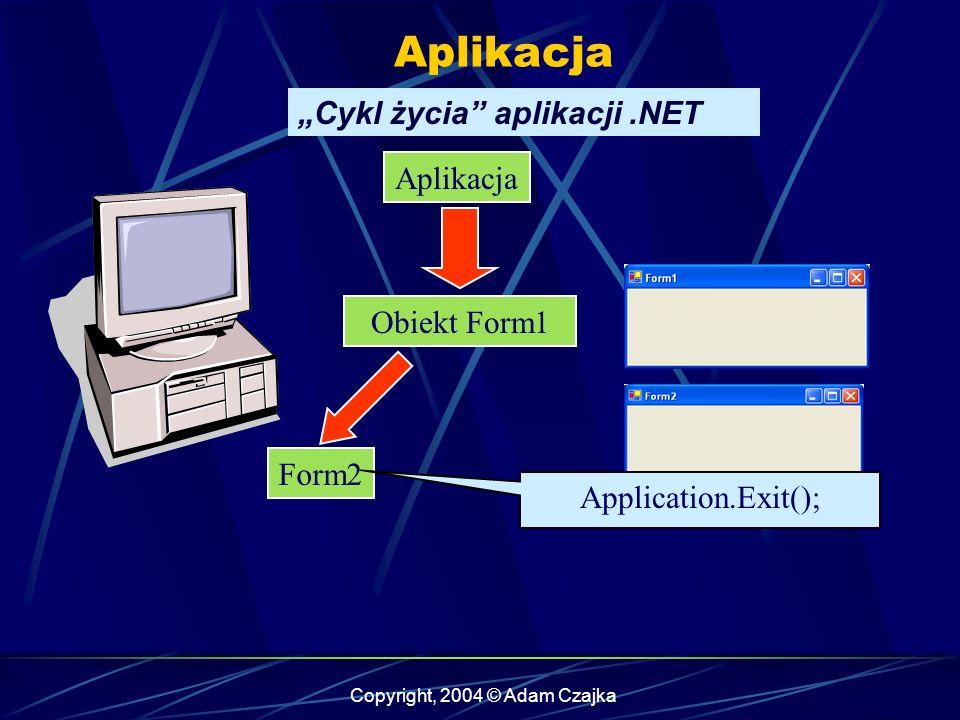 Copyright, 2004 © Adam Czajka WinForm Wstawianie komponentów private void button1_Click(object sender, System.EventArgs e) { MessageBox.Show( To jest test ); } Po naciśnięciu przycisku, licznik cały czas zlicza sekundy