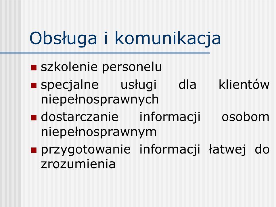 Obsługa i komunikacja szkolenie personelu specjalne usługi dla klientów niepełnosprawnych dostarczanie informacji osobom niepełnosprawnym przygotowani