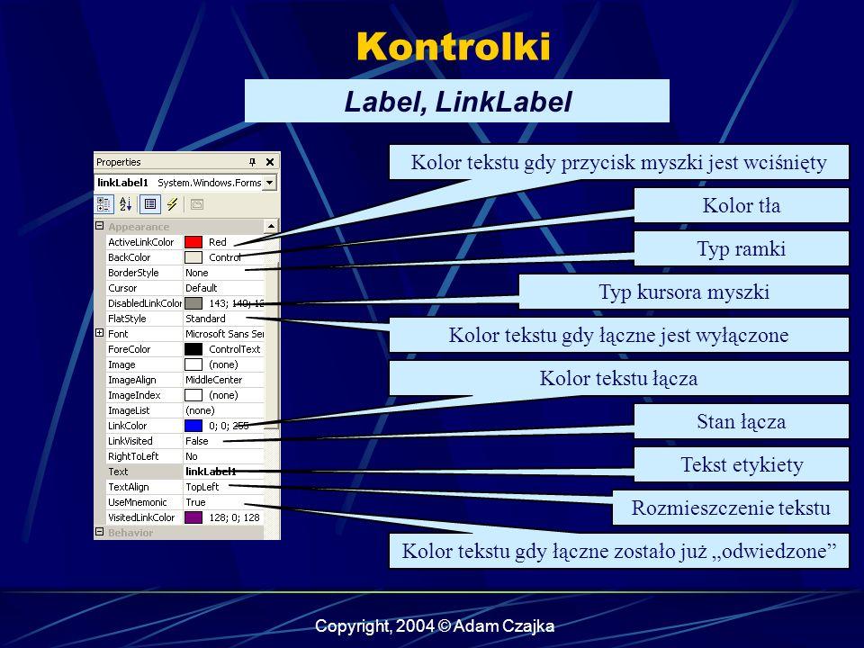 Copyright, 2004 © Adam Czajka Kontrolki Label, LinkLabel Kolor tła Typ kursora myszki Kolor tekstu gdy przycisk myszki jest wciśnięty Typ ramki Kolor