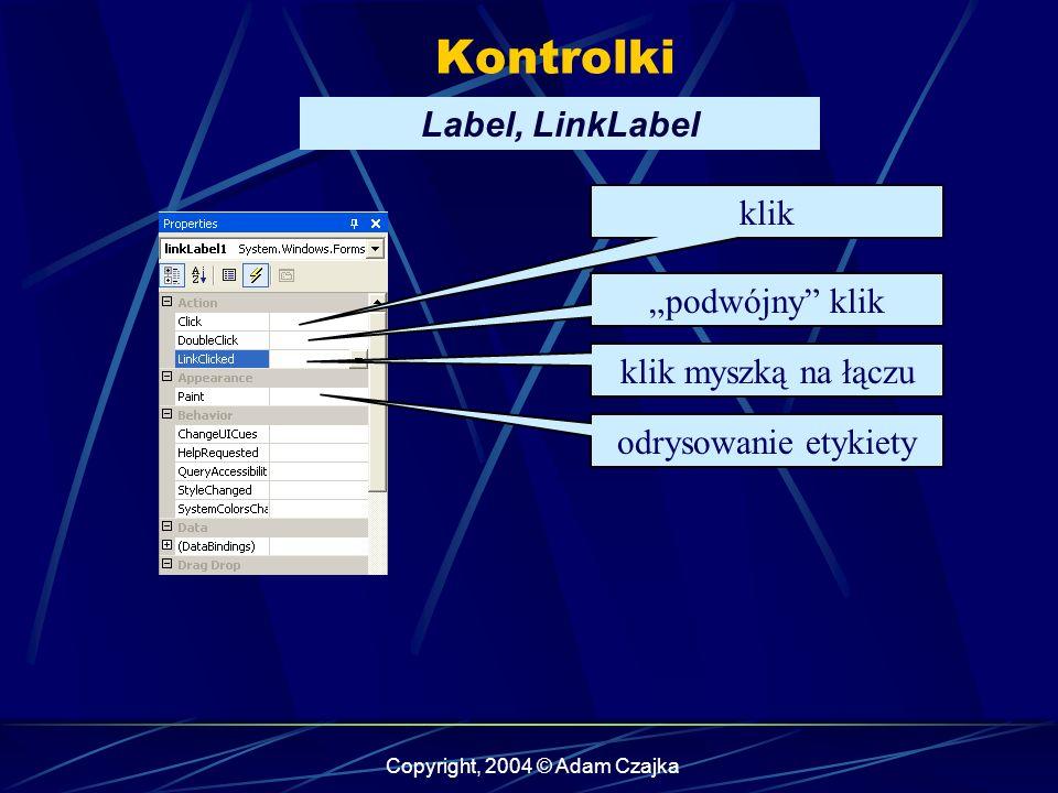 Copyright, 2004 © Adam Czajka Kontrolki Label, LinkLabel klik odrysowanie etykiety podwójny klik klik myszką na łączu