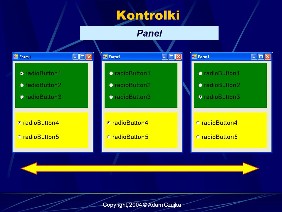 Copyright, 2004 © Adam Czajka Kontrolki Panel
