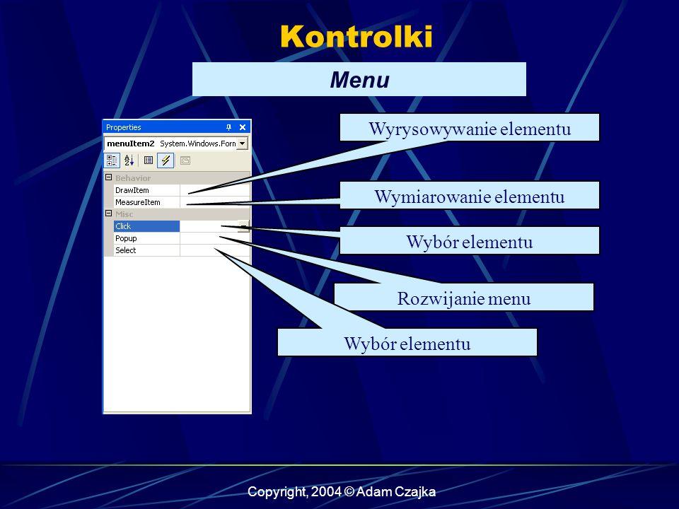 Copyright, 2004 © Adam Czajka Kontrolki Menu Wyrysowywanie elementu Wymiarowanie elementu Wybór elementu Rozwijanie menu Wybór elementu