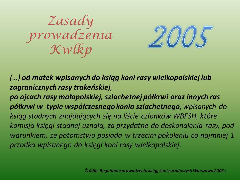 (…) od matek wpisanych do ksiąg koni rasy wielkopolskiej lub zagranicznych rasy trakeńskiej, po ojcach rasy małopolskiej, szlachetnej półkrwi oraz inn