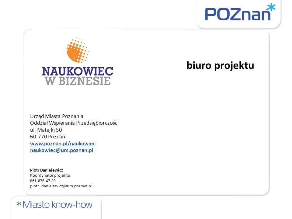 biuro projektu Urząd Miasta Poznania Oddział Wspierania Przedsiębiorczości ul.