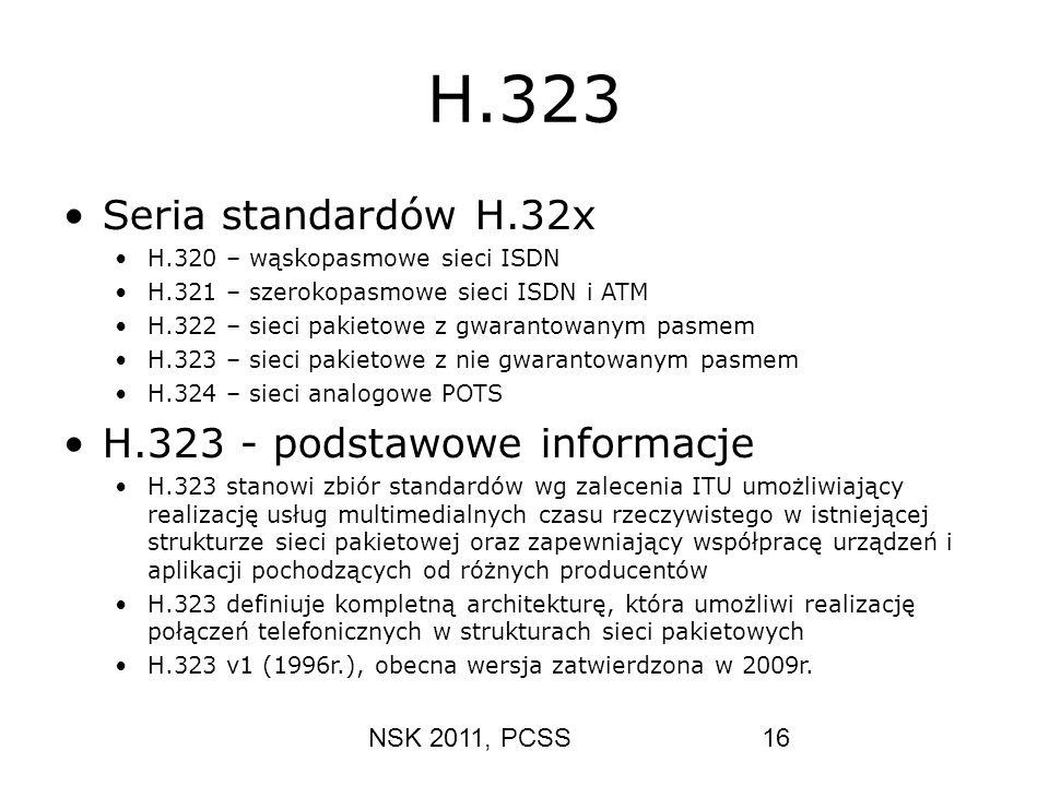 NSK 2011, PCSS16 H.323 Seria standardów H.32x H.320 – wąskopasmowe sieci ISDN H.321 – szerokopasmowe sieci ISDN i ATM H.322 – sieci pakietowe z gwaran