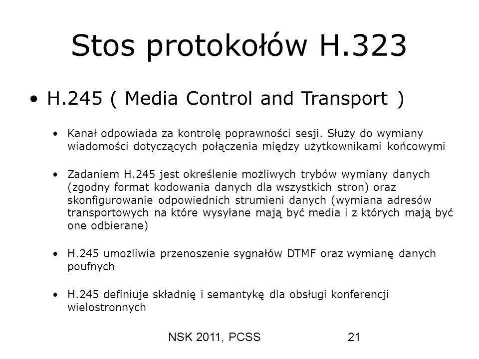 NSK 2011, PCSS21 Stos protokołów H.323 H.245 ( Media Control and Transport ) Kanał odpowiada za kontrolę poprawności sesji. Służy do wymiany wiadomośc