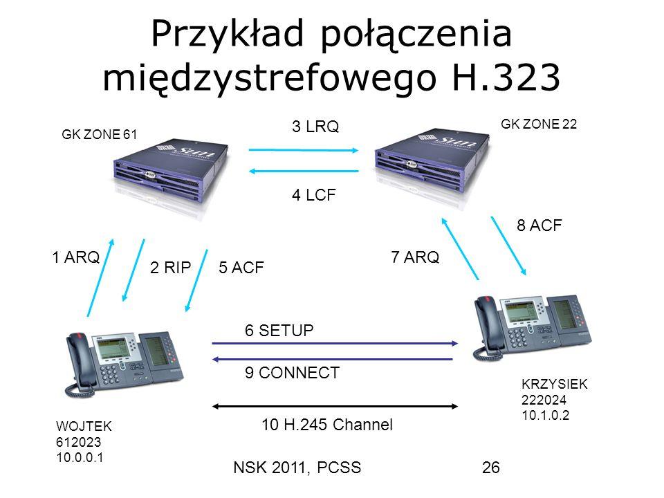 NSK 2011, PCSS26 Przykład połączenia międzystrefowego H.323 1 ARQ 2 RIP 96 SETUP 7 ARQ 8 ACF 3 LRQ 4 LCF 9 CONNECT 10 H.245 Channel WOJTEK 612023 10.0