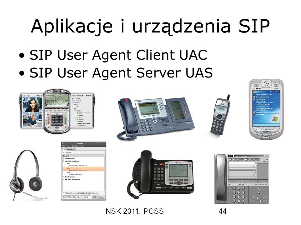 NSK 2011, PCSS44 Aplikacje i urządzenia SIP SIP User Agent Client UAC SIP User Agent Server UAS