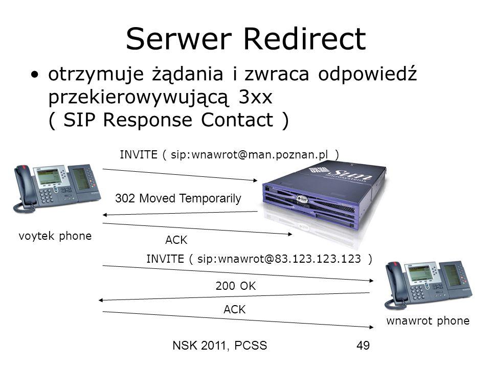 NSK 2011, PCSS49 Serwer Redirect otrzymuje żądania i zwraca odpowiedź przekierowywującą 3xx ( SIP Response Contact ) INVITE ( sip:wnawrot@man.poznan.p