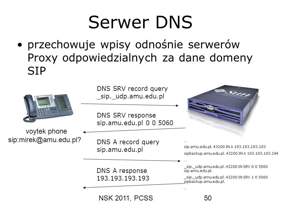 NSK 2011, PCSS50 Serwer DNS przechowuje wpisy odnośnie serwerów Proxy odpowiedzialnych za dane domeny SIP DNS SRV record query _sip._udp.amu.edu.pl DN