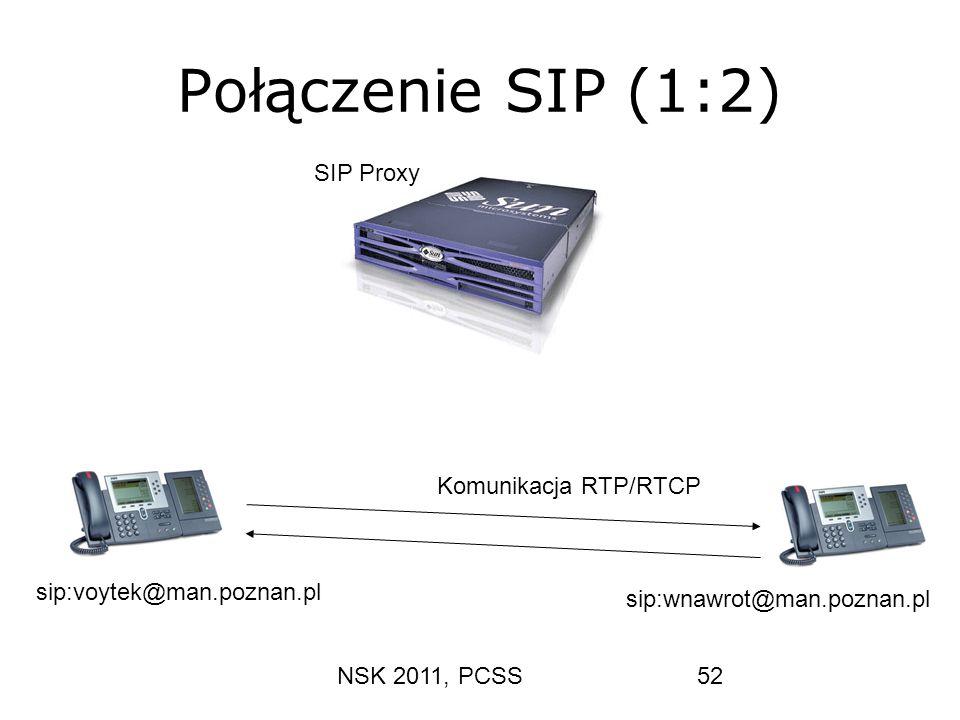 NSK 2011, PCSS52 Połączenie SIP (1:2) Komunikacja RTP/RTCP sip:voytek@man.poznan.pl sip:wnawrot@man.poznan.pl SIP Proxy