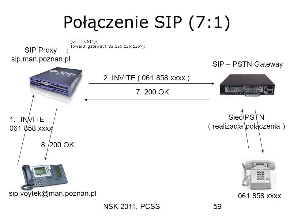 NSK 2011, PCSS59 Połączenie SIP (7:1) 1.INVITE 061 858 xxxx 8. 200 OK 2. INVITE ( 061 858 xxxx ) 7. 200 OK sip:voytek@man.poznan.pl 061 858 xxxx SIP P
