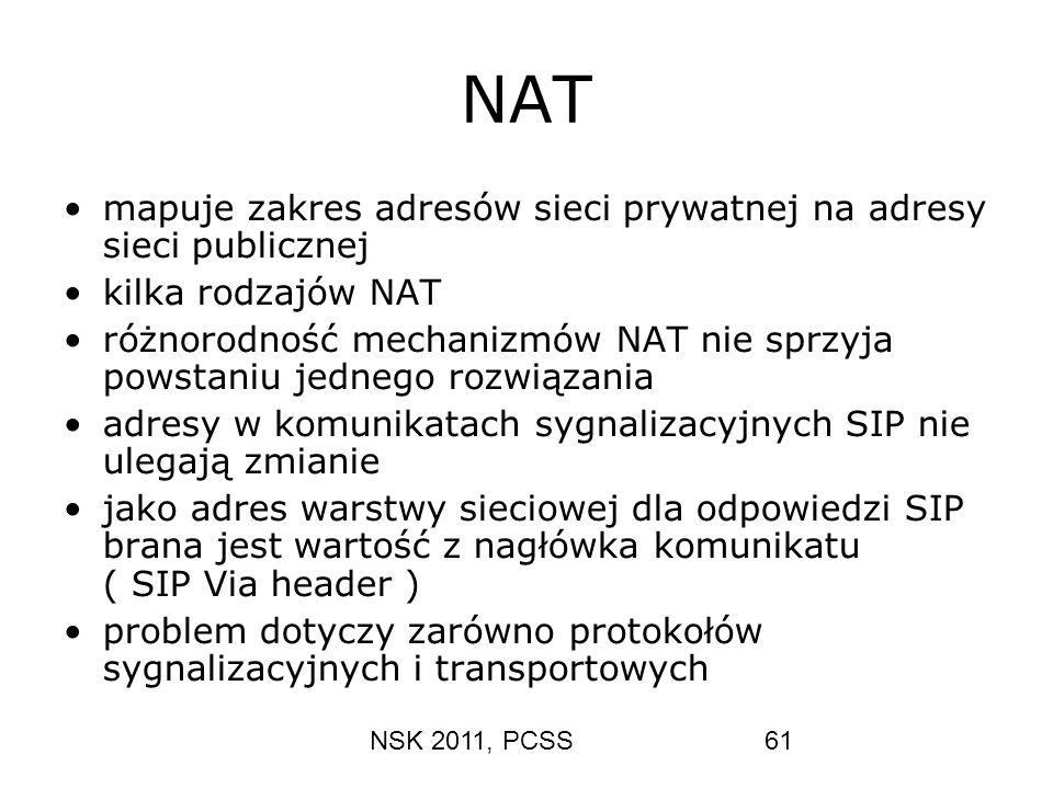 NSK 2011, PCSS61 NAT mapuje zakres adresów sieci prywatnej na adresy sieci publicznej kilka rodzajów NAT różnorodność mechanizmów NAT nie sprzyja pows