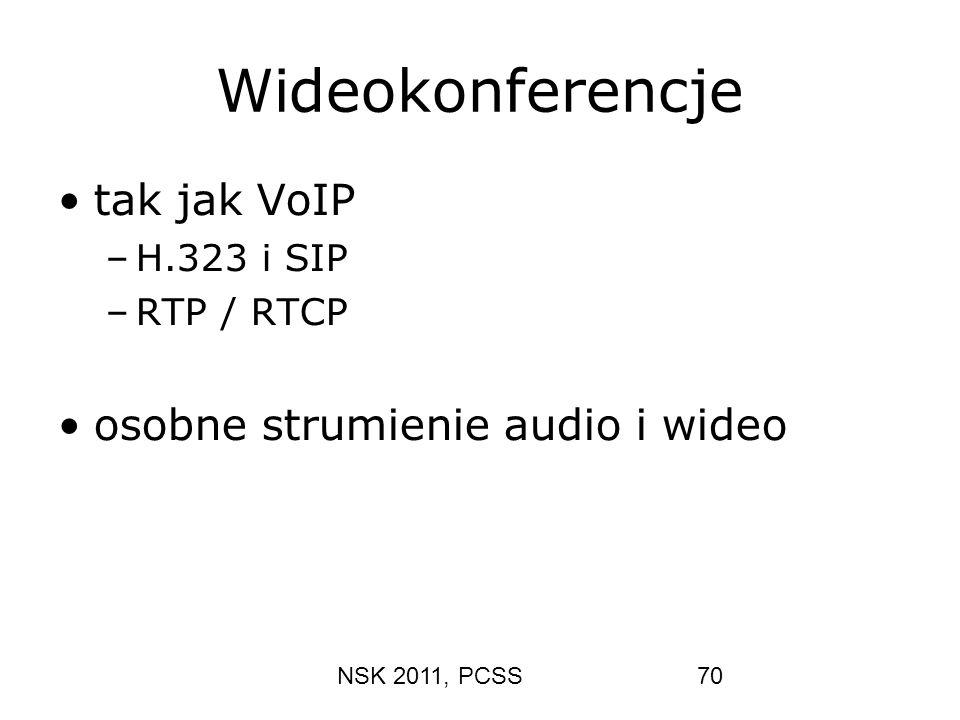 NSK 2011, PCSS70 Wideokonferencje tak jak VoIP –H.323 i SIP –RTP / RTCP osobne strumienie audio i wideo