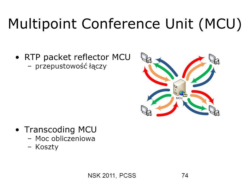 NSK 2011, PCSS74 Multipoint Conference Unit (MCU) RTP packet reflector MCU –przepustowość łączy Transcoding MCU –Moc obliczeniowa –Koszty