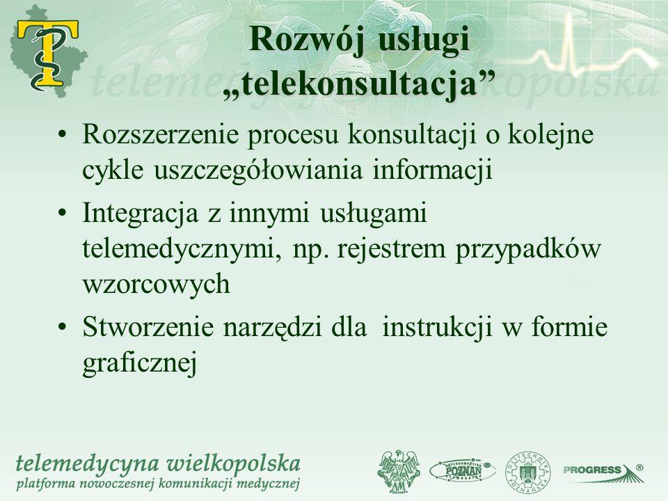 Rozszerzenie procesu konsultacji o kolejne cykle uszczegółowiania informacji Integracja z innymi usługami telemedycznymi, np.