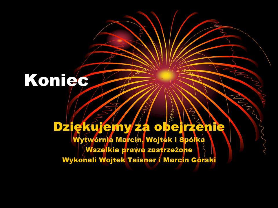 Koniec Dziękujemy za obejrzenie Wytwórnia Marcin, Wojtek i Spółka Wszelkie prawa zastrzeżone Wykonali Wojtek Taisner i Marcin Górski