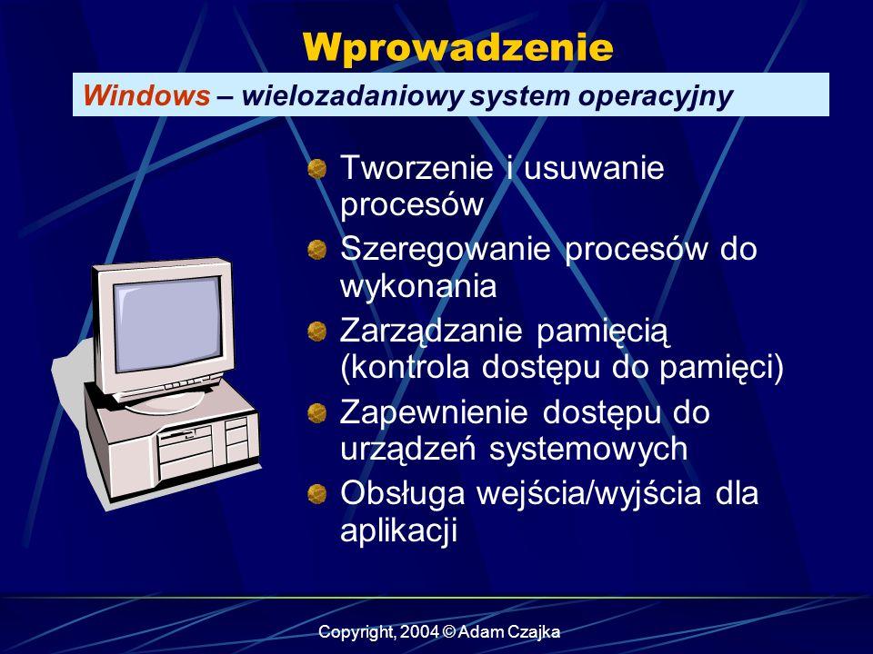 Copyright, 2004 © Adam Czajka Wprowadzenie Windows – wielozadaniowy system operacyjny Tworzenie i usuwanie procesów Szeregowanie procesów do wykonania Zarządzanie pamięcią (kontrola dostępu do pamięci) Zapewnienie dostępu do urządzeń systemowych Obsługa wejścia/wyjścia dla aplikacji