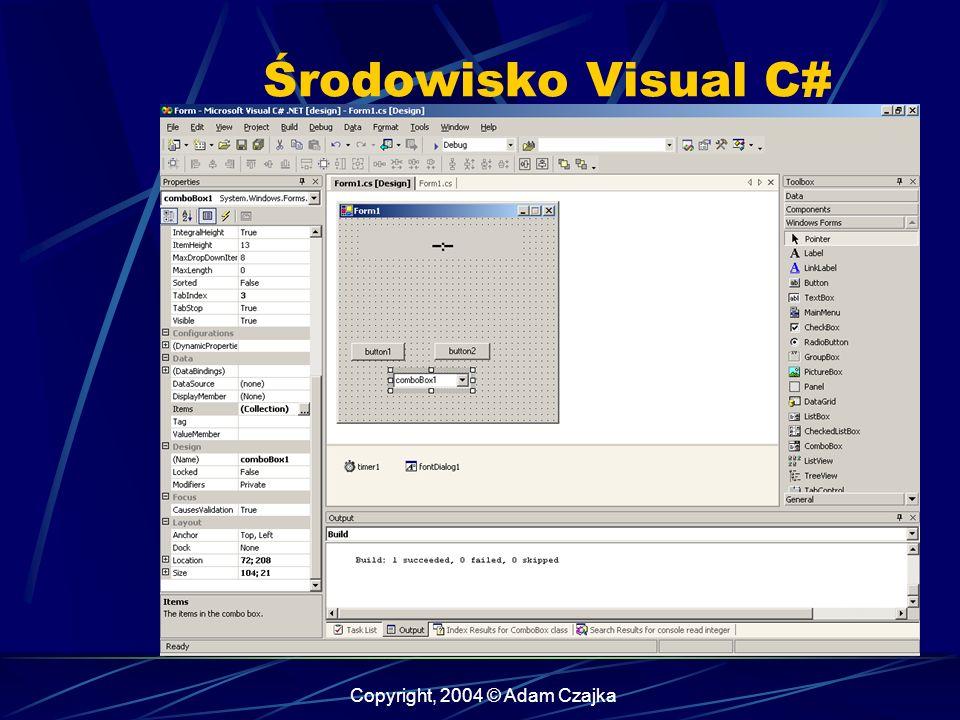Copyright, 2004 © Adam Czajka Środowisko Visual C#