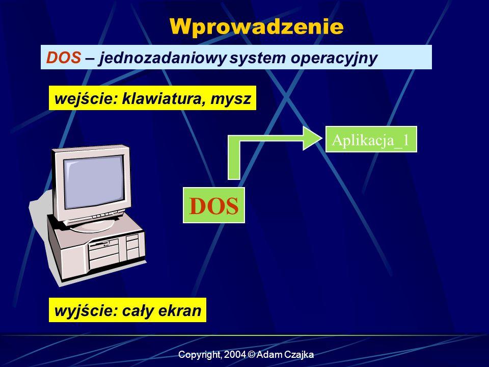 Copyright, 2004 © Adam Czajka Wprowadzenie DOS – jednozadaniowy system operacyjny Aplikacja_1 DOS wejście: klawiatura, mysz wyjście: cały ekran