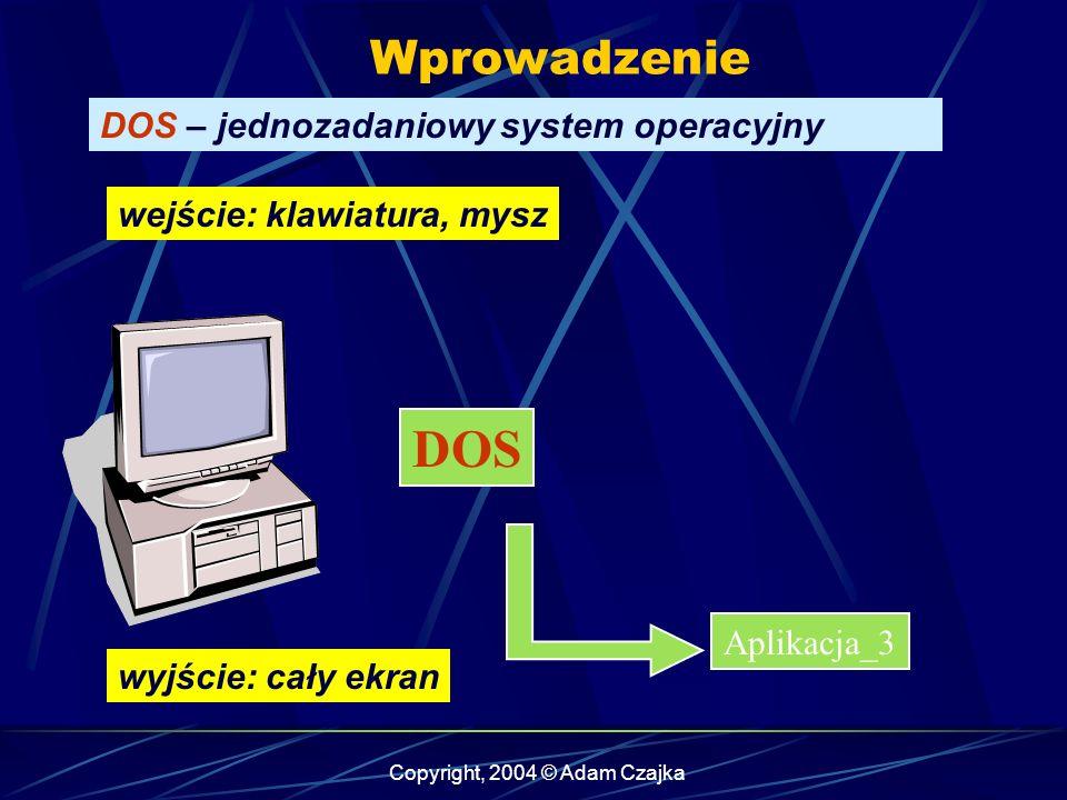 Copyright, 2004 © Adam Czajka Wprowadzenie Windows – rodzaje aplikacji Aplikacja okienkowa Biblioteka oienkowa Aplikacja dla palmtopów ASP.NET aplikacja sieciowa ASP.NET serwis sieciowy Aplikacja konsolowa Serwis systemowy