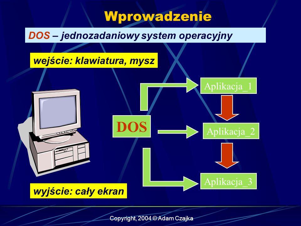 Copyright, 2004 © Adam Czajka Wprowadzenie DOS – jednozadaniowy system operacyjny Aplikacja_1 Aplikacja_2 Aplikacja_3 DOS wejście: klawiatura, mysz wyjście: cały ekran