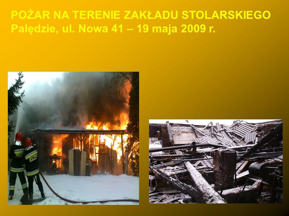 POŻAR NA TERENIE ZAKŁADU STOLARSKIEGO Palędzie, ul. Nowa 41 – 19 maja 2009 r.