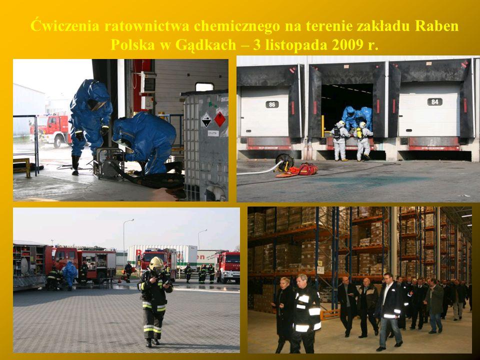 Ćwiczenia ratownictwa chemicznego na terenie zakładu Raben Polska w Gądkach – 3 listopada 2009 r.