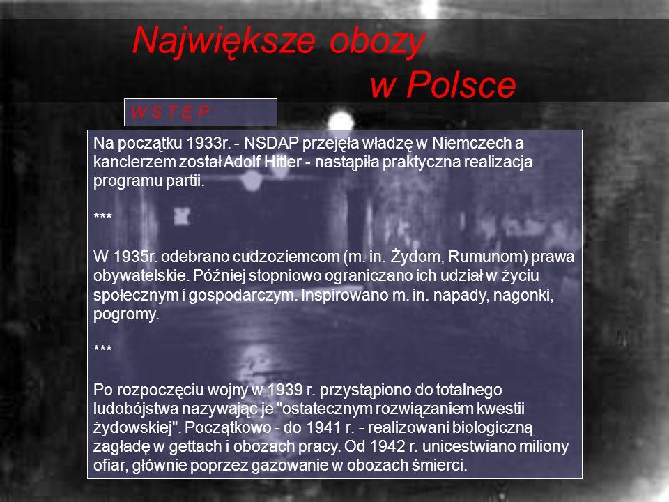 Największe obozy w Polsce W S T Ę P : Na początku 1933r. - NSDAP przejęła władzę w Niemczech a kanclerzem został Adolf Hitler - nastąpiła praktyczna r