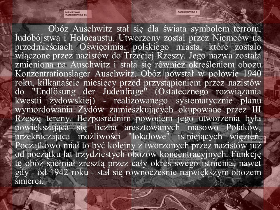 Obóz Auschwitz stał się dla świata symbolem terroru, ludobójstwa i Holocaustu. Utworzony został przez Niemców na przedmieściach Oświęcimia, polskiego