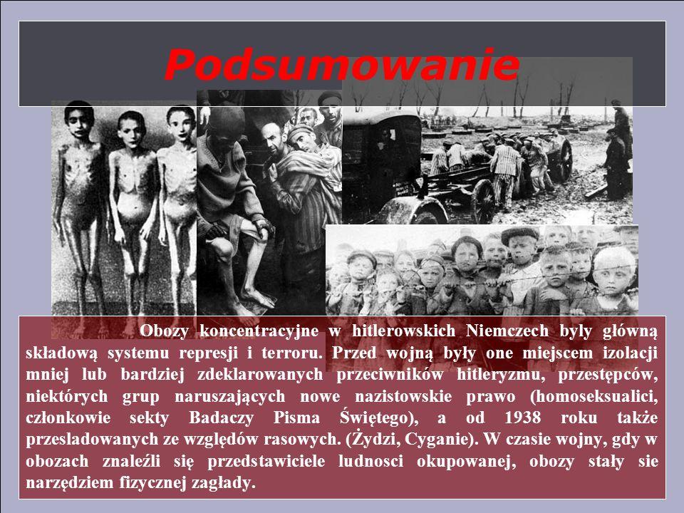 Podsumowanie Obozy koncentracyjne w hitlerowskich Niemczech byly główną składową systemu represji i terroru. Przed wojną były one miejscem izolacji mn