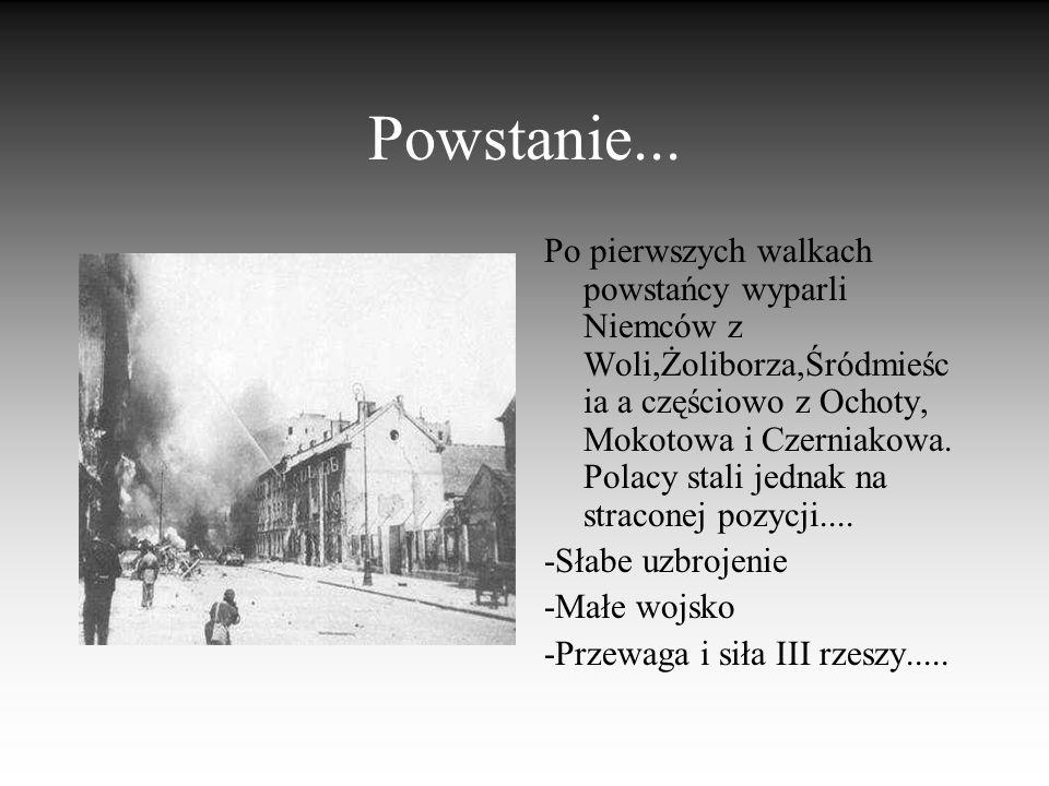 Przyczyny wybuchu Powstania Miało ono być manifestacją siły zbrojnego podziemia. Samodzielne oswobodzenie stolicy i powitanie wojsk radzieckich przez