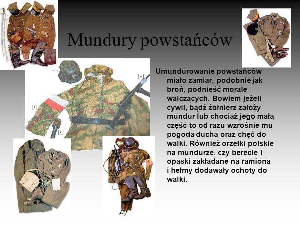 Broń powstańców Broń powstańców nie była najwyższej jakości, ale sam fakt, że była dostępna podnosił morale Polaków. Zdecydowana większość powstańczeg