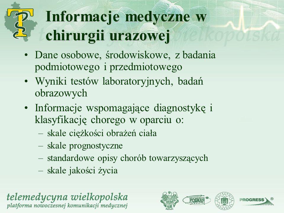 Informacje medyczne w chirurgii urazowej Dane osobowe, środowiskowe, z badania podmiotowego i przedmiotowego Wyniki testów laboratoryjnych, badań obra