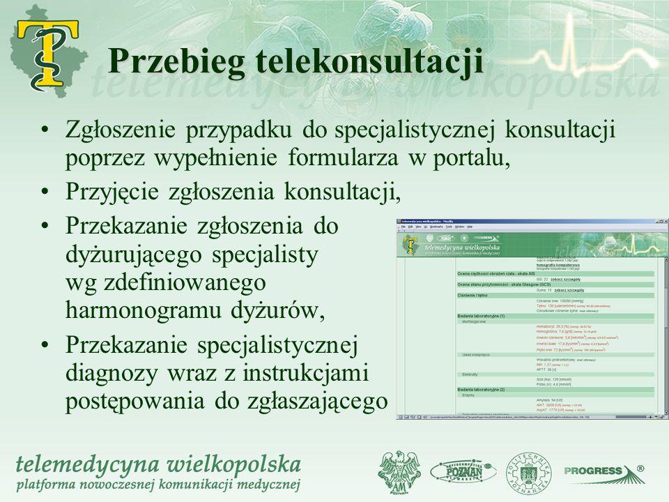 Przebieg telekonsultacji Zgłoszenie przypadku do specjalistycznej konsultacji poprzez wypełnienie formularza w portalu, Przyjęcie zgłoszenia konsultac