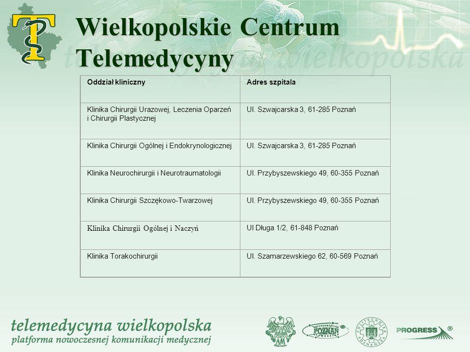 Wielkopolskie Centrum Telemedycyny Oddział klinicznyAdres szpitala Klinika Chirurgii Urazowej, Leczenia Oparzeń i Chirurgii Plastycznej Ul. Szwajcarsk