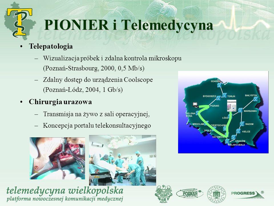 Telepatologia – –Wizualizacja próbek i zdalna kontrola mikroskopu (Poznań-Strasbourg, 2000, 0,5 Mb/s) – –Zdalny dostęp do urządzenia Coolscope (Poznań