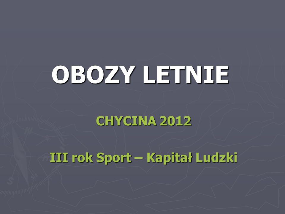 OBOZY LETNIE CHYCINA 2012 III rok Sport – Kapitał Ludzki