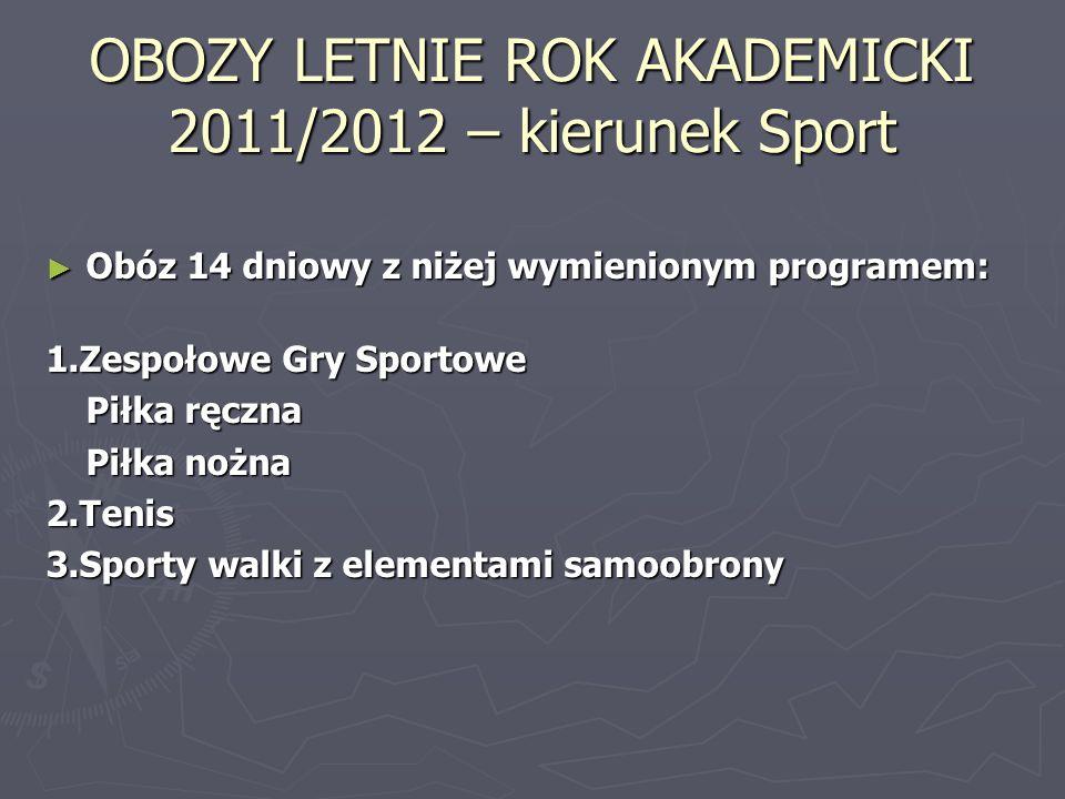 OBOZY LETNIE ROK AKADEMICKI 2011/2012 – kierunek Sport Obóz 14 dniowy z niżej wymienionym programem: Obóz 14 dniowy z niżej wymienionym programem: 1.Z