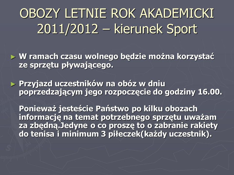 OBOZY LETNIE ROK AKADEMICKI 2011/2012 – kierunek Sport W ramach czasu wolnego będzie można korzystać ze sprzętu pływającego. W ramach czasu wolnego bę