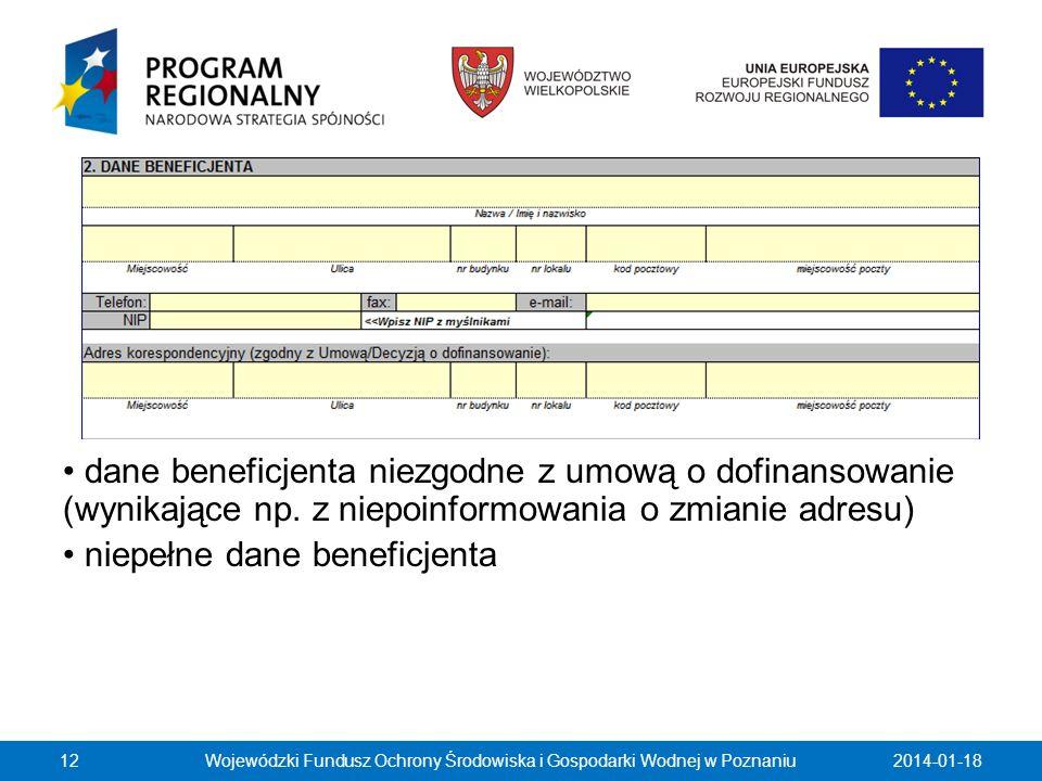 2014-01-1812 dane beneficjenta niezgodne z umową o dofinansowanie (wynikające np. z niepoinformowania o zmianie adresu) niepełne dane beneficjenta Woj
