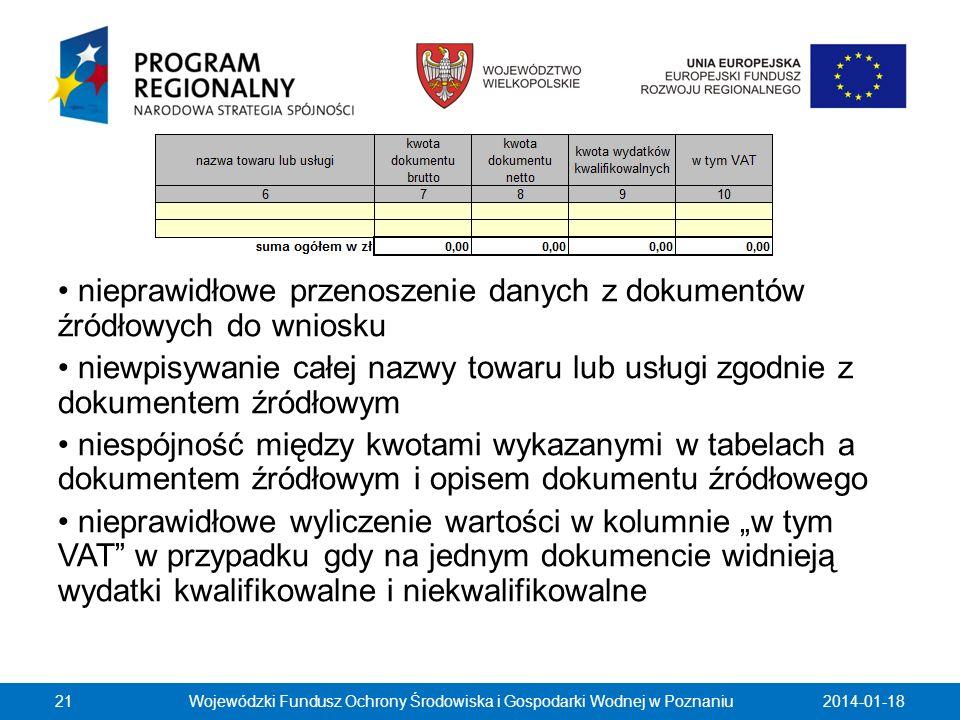 2014-01-18Wojewódzki Fundusz Ochrony Środowiska i Gospodarki Wodnej w Poznaniu21 nieprawidłowe przenoszenie danych z dokumentów źródłowych do wniosku
