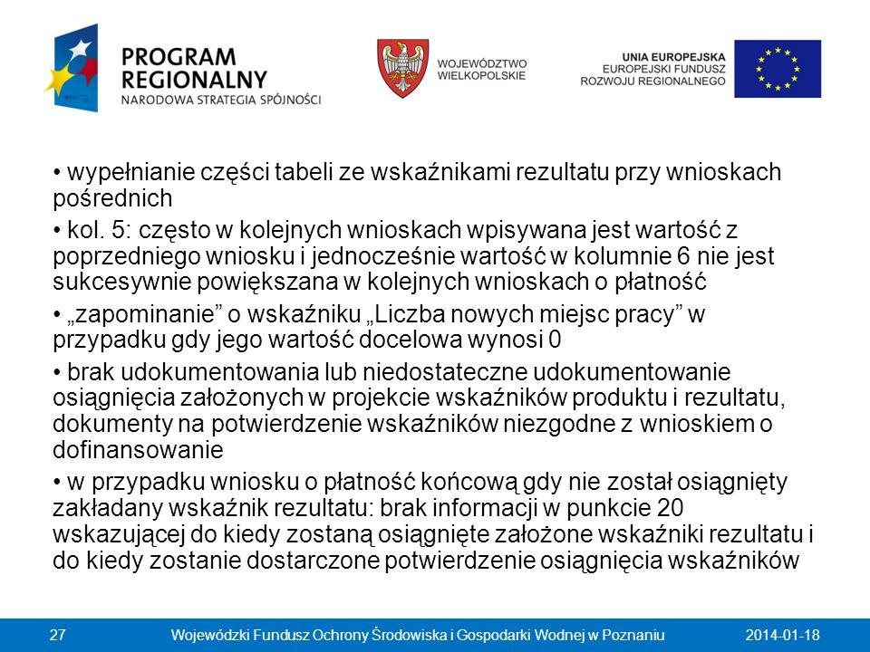 2014-01-18Wojewódzki Fundusz Ochrony Środowiska i Gospodarki Wodnej w Poznaniu27 wypełnianie części tabeli ze wskaźnikami rezultatu przy wnioskach poś