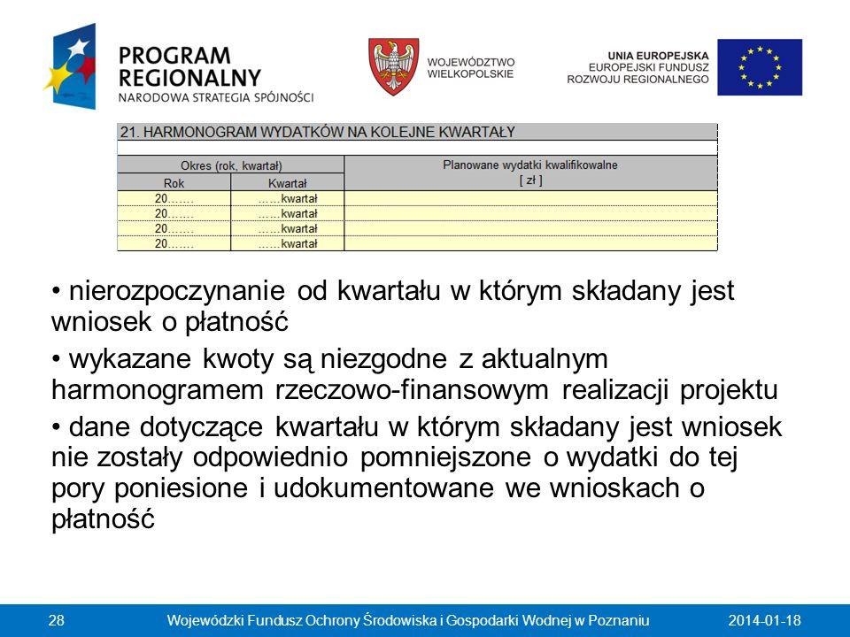 2014-01-18Wojewódzki Fundusz Ochrony Środowiska i Gospodarki Wodnej w Poznaniu28 nierozpoczynanie od kwartału w którym składany jest wniosek o płatnoś