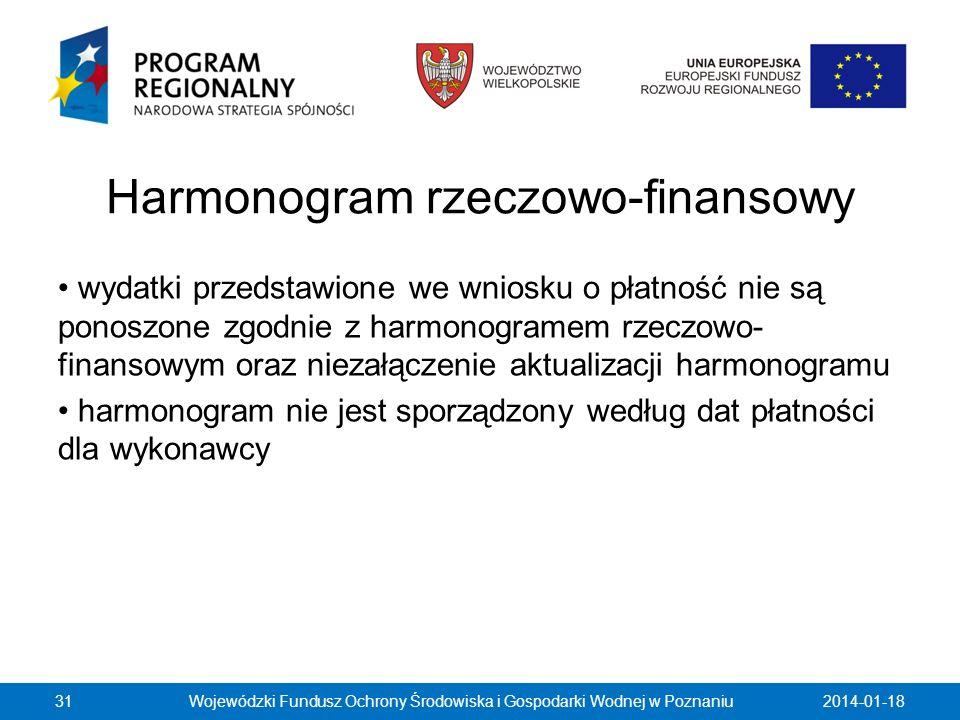 Harmonogram rzeczowo-finansowy wydatki przedstawione we wniosku o płatność nie są ponoszone zgodnie z harmonogramem rzeczowo- finansowym oraz niezałąc
