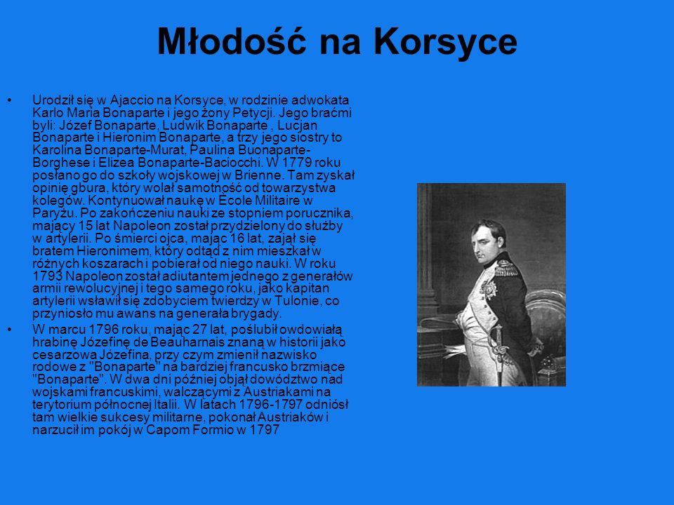 Młodość na Korsyce Urodził się w Ajaccio na Korsyce, w rodzinie adwokata Karlo Maria Bonaparte i jego żony Petycji. Jego braćmi byli: Józef Bonaparte,