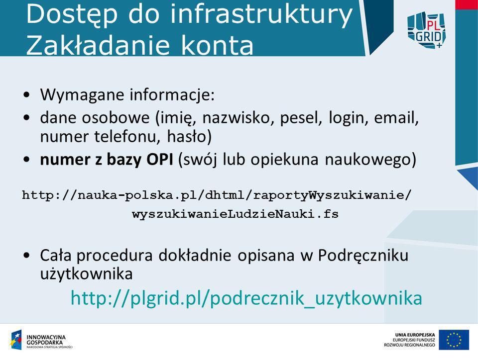 Dostęp do infrastruktury Zakładanie konta Wymagane informacje: dane osobowe (imię, nazwisko, pesel, login, email, numer telefonu, hasło) numer z bazy