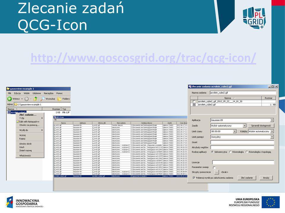 Zlecanie zadań QCG-Icon http://www.qoscosgrid.org/trac/qcg-icon/