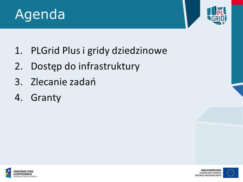 Agenda 1.PLGrid Plus i gridy dziedzinowe 2.Dostęp do infrastruktury 3.Zlecanie zadań 4.Granty